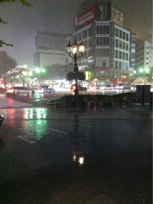 仙台は大雨